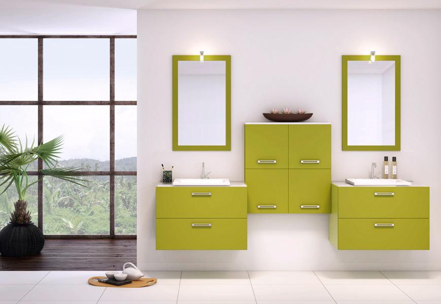 exemple meuble salle de bain vert