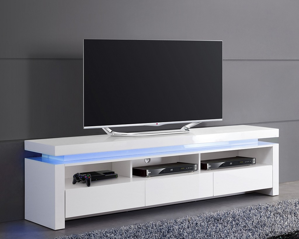 Meuble tv bas blanc for Meuble bas tv blanc laque