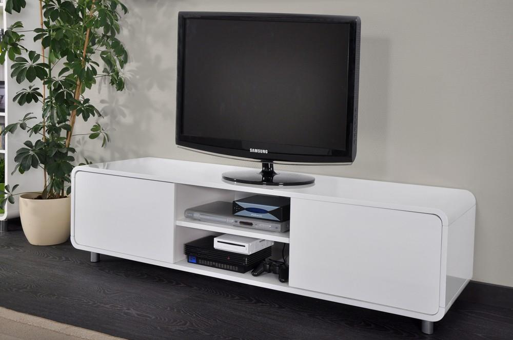 Meuble tv bas blanc laque for Meuble bas tv blanc