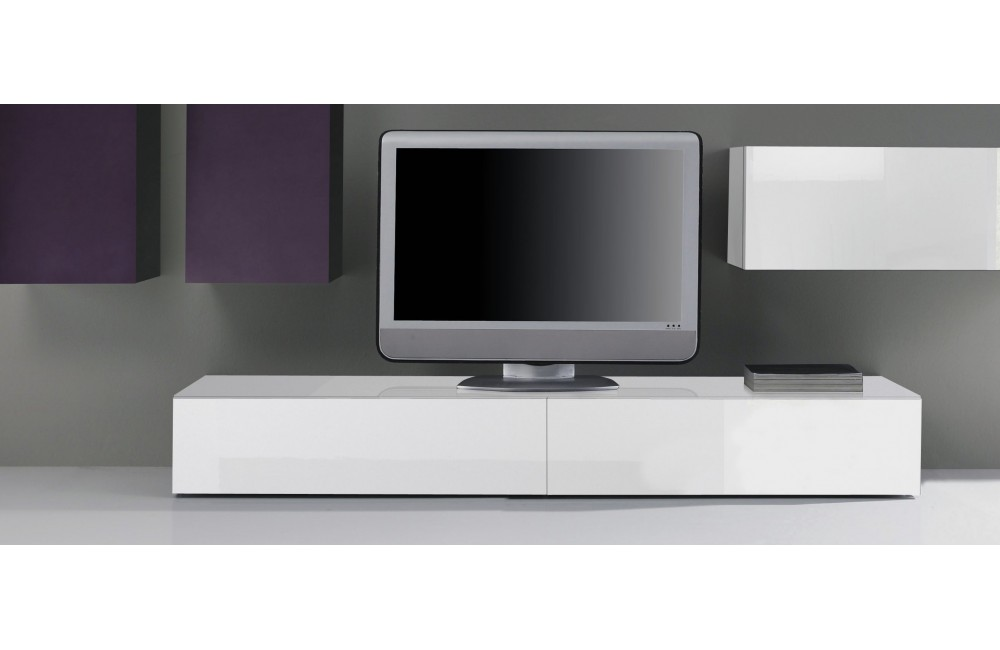 Meuble tv bas blanc laque for Meuble tele design laque blanc