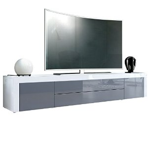 Meuble tv bas gris for Meuble bas tv blanc