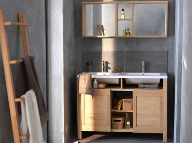 Meuble vasque bois pas cher for Meubles maison pas cher