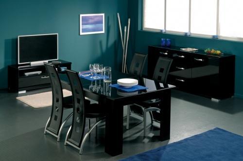 mobilier maison table a manger noire laquee 6 g - Salle A Manger Noir Et Blanc Pas Cher
