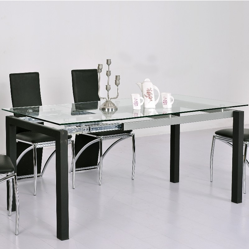 Table a manger verre extensible for Table verre rallonge salle manger