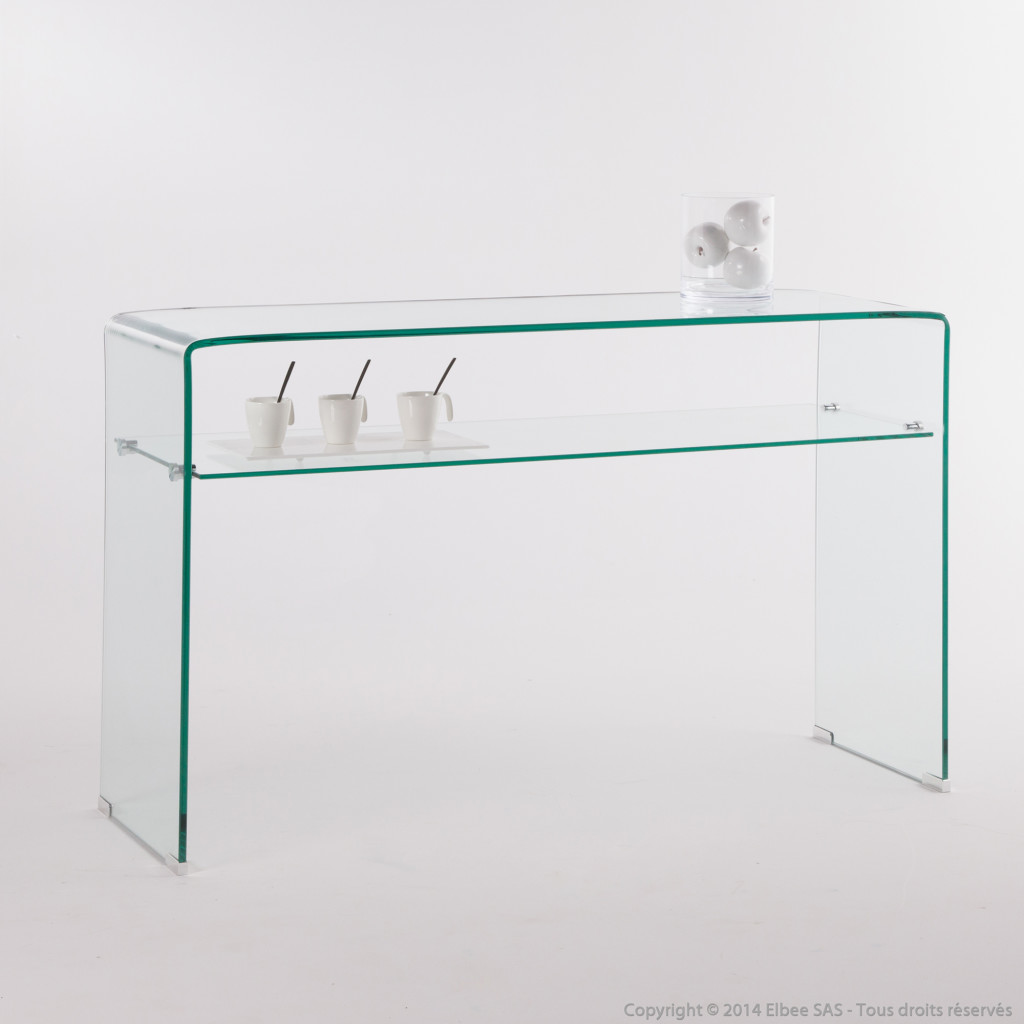 Mod le table console verre trempe - Table salon verre trempe ...