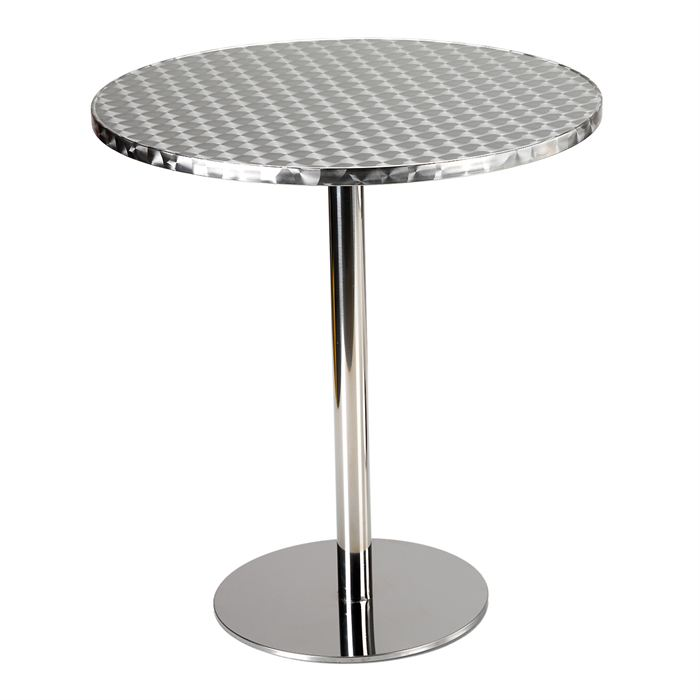 Table de bar aluminium et inox - Table ronde de bistrot ...