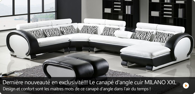 canape d 39 angle cuir new york xxl. Black Bedroom Furniture Sets. Home Design Ideas