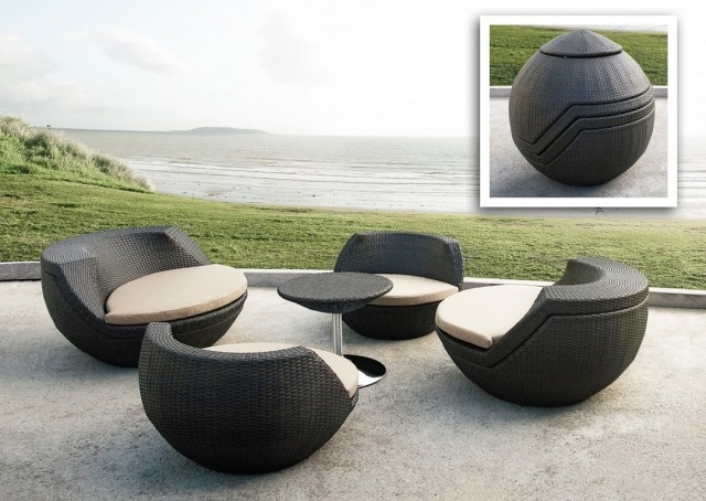 Fauteuil boule salon de jardin for Table de jardin modulable