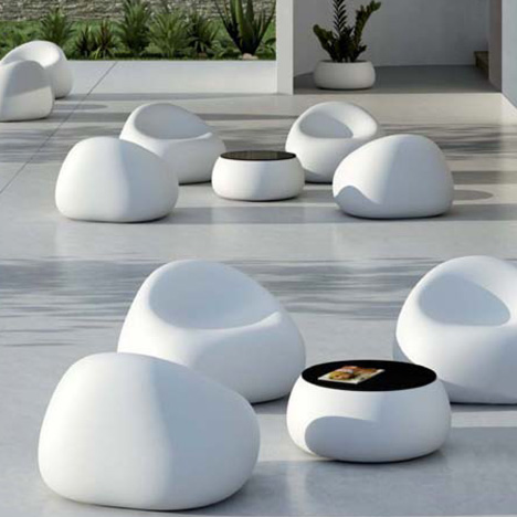 Mobilier exterieur blanc for Salon jardin design contemporain