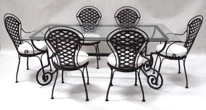 Salon teck + fer forgé table rectangulaire 160/260 x 100 cm + 4 chaises + 2