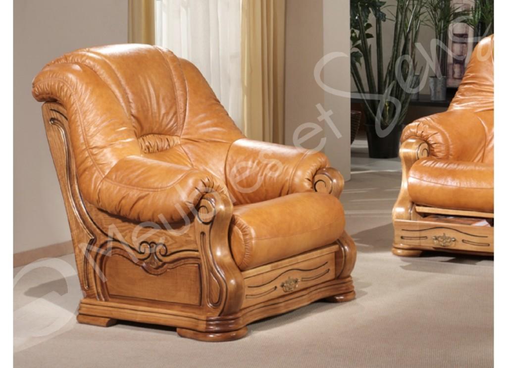 fauteuil salon bois massif