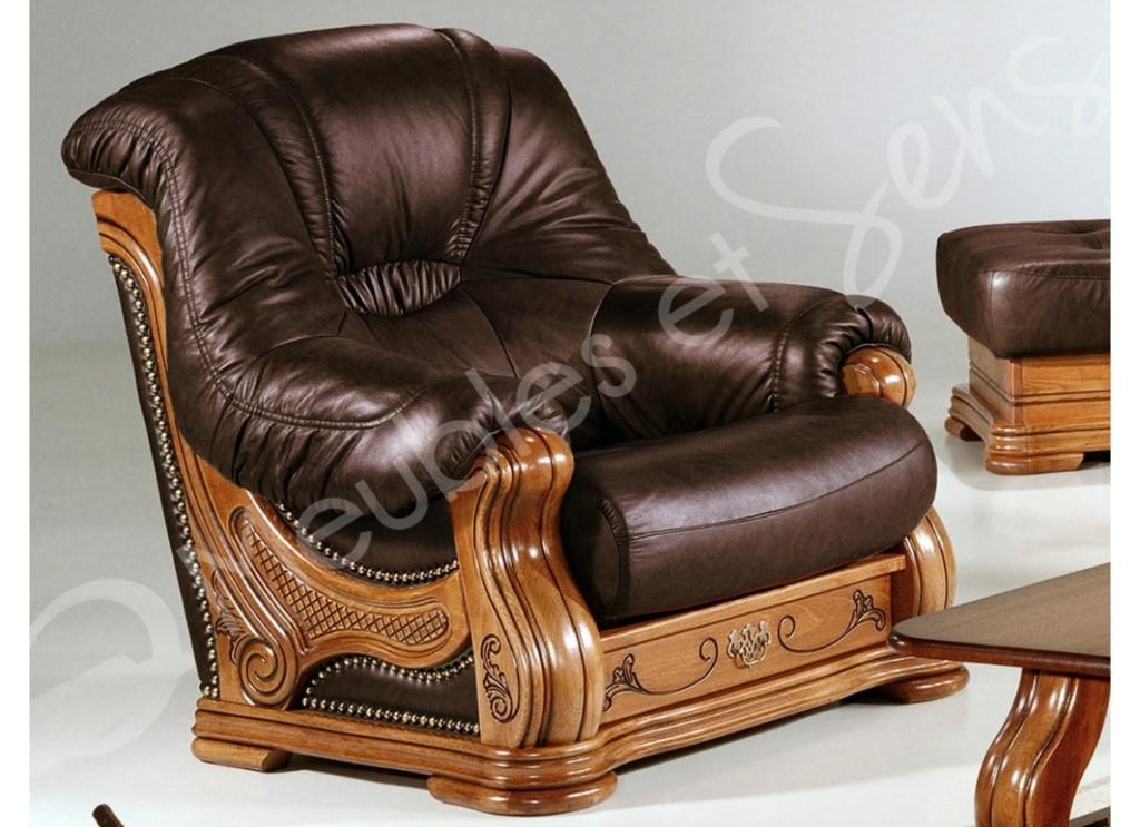 Fauteuil salon bois massif - Salon cuir buffle pleine fleur ...