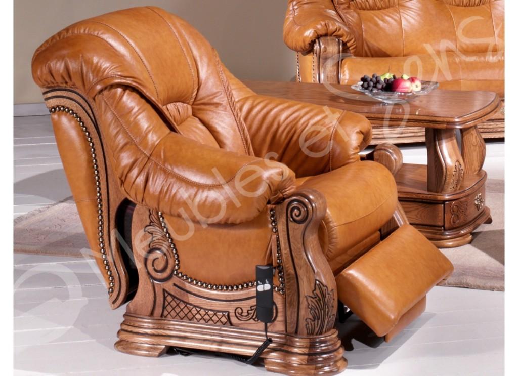 modèle fauteuil salon bois massif