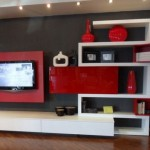 meuble salon rouge