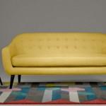 canapé cuir jaune 3 places