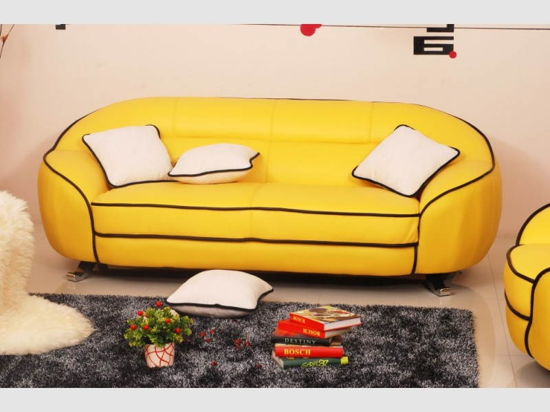 canap cuir jaune 3 places. Black Bedroom Furniture Sets. Home Design Ideas
