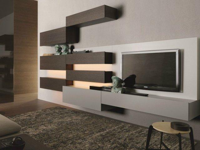 meuble salon bois gris