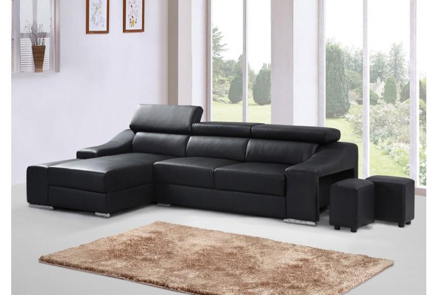 canap d 39 angle cuir noir. Black Bedroom Furniture Sets. Home Design Ideas