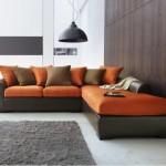tapis salon orange chocolat