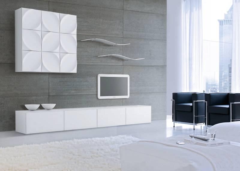Meuble design blanc laqu for Meuble tv bas blanc laque