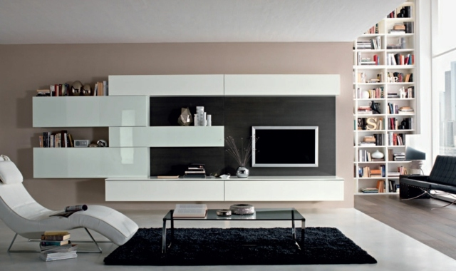 meuble salon blanc laqu. Black Bedroom Furniture Sets. Home Design Ideas