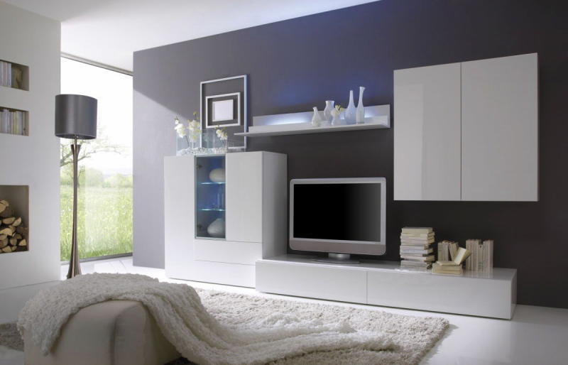salon moderne meuble blanc pr l vement d. Black Bedroom Furniture Sets. Home Design Ideas