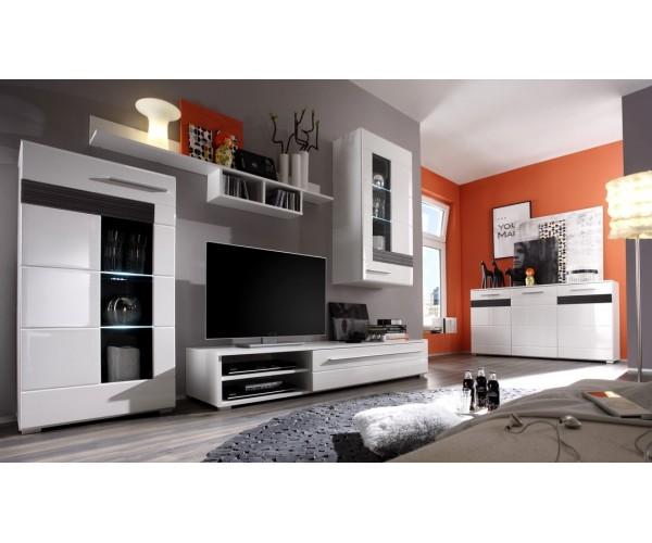 meuble salon blanc laqu. Black Bedroom Furniture Sets. Home Design Ideas