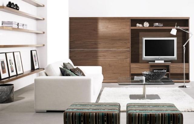 photo meuble salon contemporain bois - Meuble De Salon Moderne En Bois