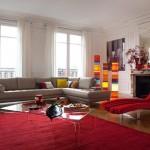tapis salon rouge et beige