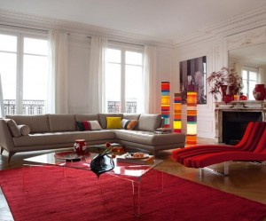 tapis salon rouge et beige