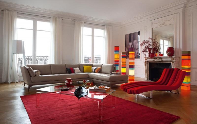 Exemple Tapis Salon Rouge Et Beige. «