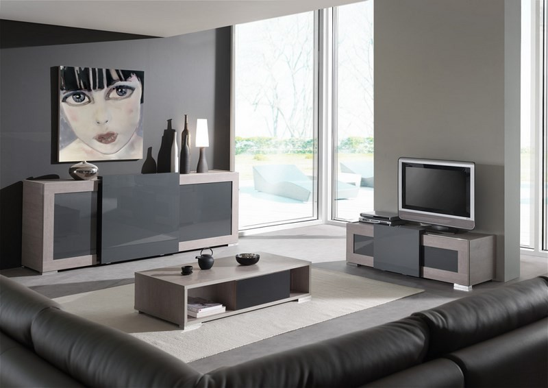 meuble salon gris but. Black Bedroom Furniture Sets. Home Design Ideas