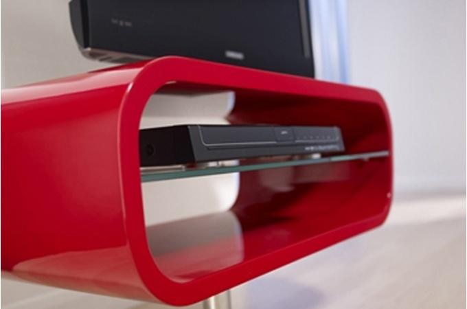 modèle meuble salon rouge laque
