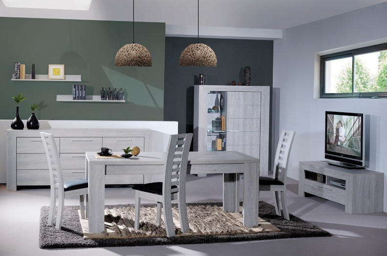 Awesome meuble de salle a manger gris contemporary for Salon salle a manger gris