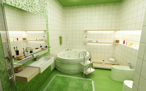 idée tapis salle de bain vert foncé
