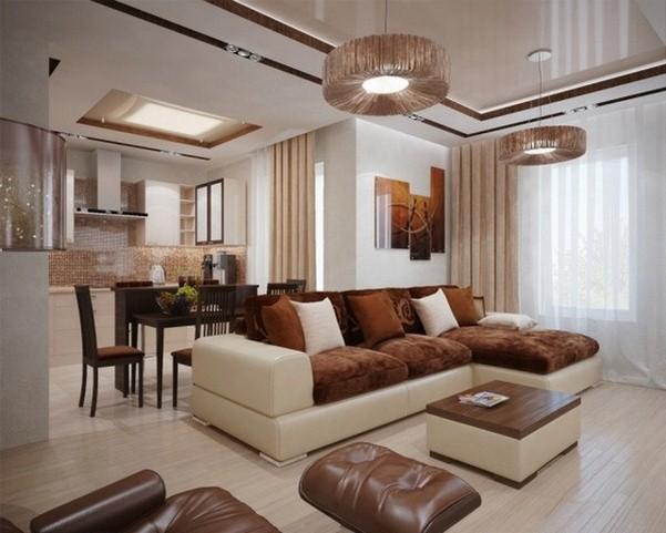 modèle tapis salon marron chocolat