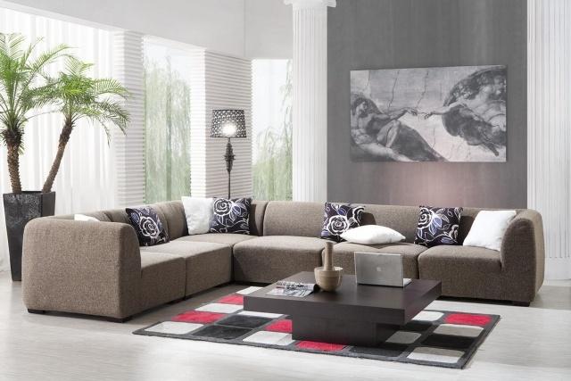organisation tapis salon noir et gris