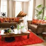 tapis salon orange rouge