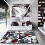tapis salon gris et rouge