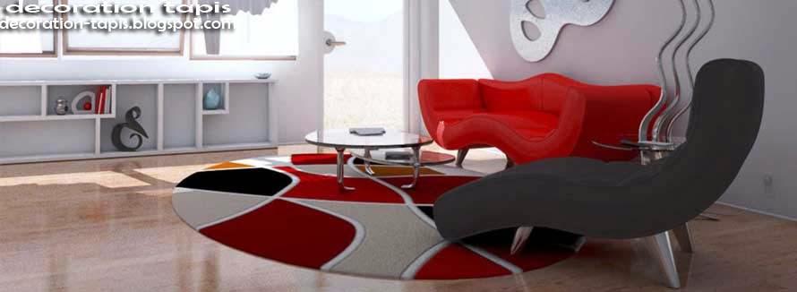 tapis salon gris et rouge