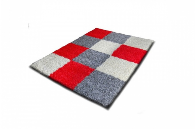 Carrelage design tapis gris et rouge moderne design for Tapis salon blanc et gris