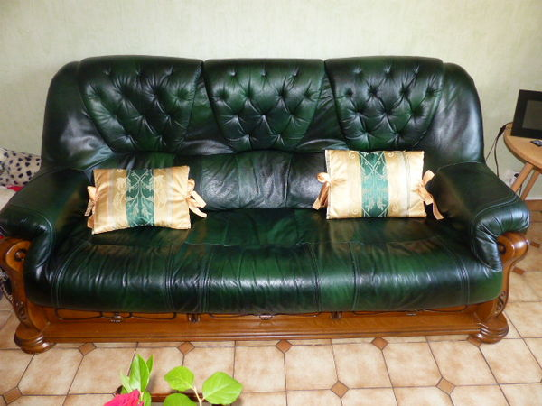 canapé cuir vert 3 places